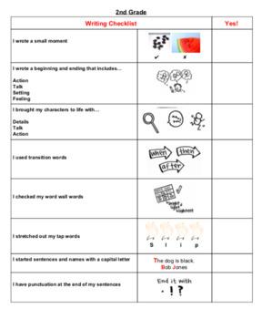 narrative writing checklist for second grade