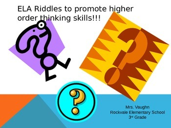 2nd and 3rd Grade ELA Riddle PowerPoint