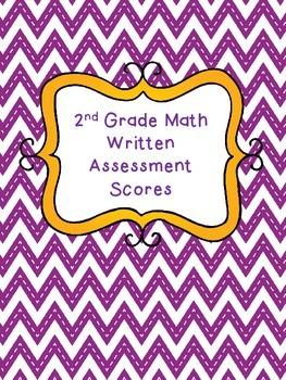 2nd and 3rd Grade Math Written Assessment Cute Chevron Bin