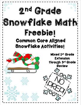 2nd and 3rd Grade Mixed Snowflake Math No Prep FREEBIE