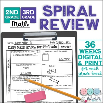 2nd and 3rd Grade Math Spiral Review Morning Work Bundle