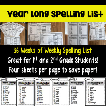 2nd and 3rd Grade Weekly Spelling Lists