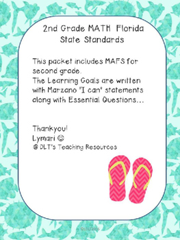 """2nd gr MATH (EDITABLE)- Marzano """"I can"""" Statements and Essential Qu's -Ocean"""