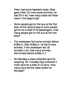 2nd grade 2.OA.1.1 Start unknown real world questions