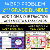 2nd Grade Word Problems BUNDLE - Addition & Subtraction Worksheets & Task Cards