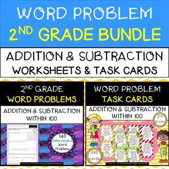 2nd Grade Word Problems BUNDLE - Addition & Subtraction Worksheets & Task Cards