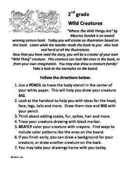 "2nd grade Art Sub Plan: ""Wild Thing"" Creatures"