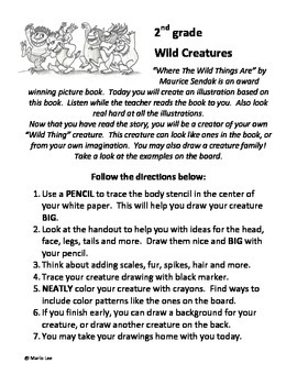 "2nd grade Art Sub Plan: ""Wild Thing"" Creatures"
