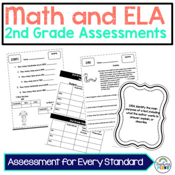 2nd grade CCSS Math and ELA Assessments Mega Pack {without standard posters}