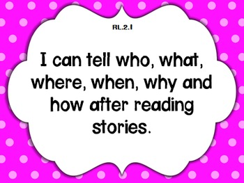 """2nd grade Common Core Language Arts """"I Can"""" Statement Posters {Polka Dot}"""