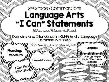 """2nd grade Common Core Language Arts """"I Can"""" Statements {Black&White Chevron}"""