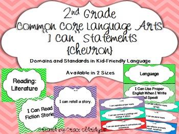 "2nd grade Common Core Language Arts ""I Can"" Statements {Chevron}"