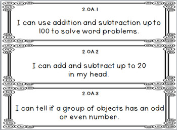 """2nd grade Common Core Math """"I Can"""" Statements Posters {Black and White}"""