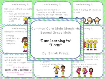 """2nd grade - Common Core Math Standards """"I can"""" & """"I am learning to"""" statements"""