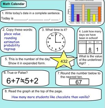 2nd grade Daily Math Warm Up!