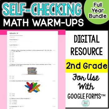 2nd grade Digital Self-Grading and Self-Checking Math Warm-Ups Growing Bundle