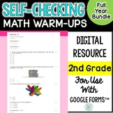 2nd grade Digital Self-Grading and Self-Checking Math Warm-Ups Growing Bundle