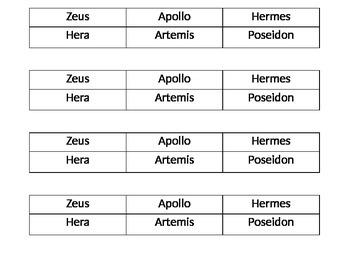 2nd grade Domain 3 Ancient Greek Civilization Gods & Goddesses sort