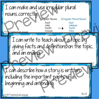 "Second Grade ELA ""I can"" Posters and Sentence Strips - ENGLISH"
