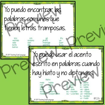 "Second Grade ELA ""I can"" Posters and Sentence Strips - SPANISH"