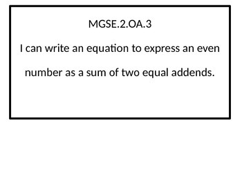 2nd grade math  I Can statements for Georgia Standards of Excellence