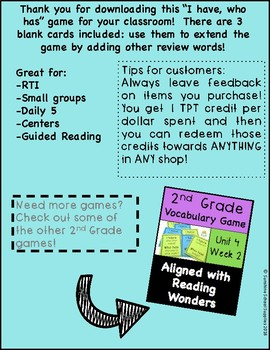 """2nd grade """"I have Who has"""" vocab game (Reading Wonders- Unit 1 Week 2)"""