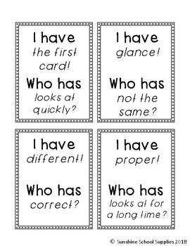 """2nd grade """"I have Who has"""" vocab game (Reading Wonders- Unit 1 Week 3)"""