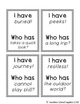 "2nd grade ""I have Who has"" vocab game (Reading Wonders- Unit 2 Week 3)"
