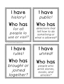 """2nd grade """"I have Who has"""" vocabulary game (Reading Wonders- Unit 5 Week 5)"""