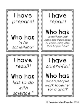 """2nd grade """"I have Who has"""" vocabulary game (Reading Wonders- Unit 6, Week 3)"""