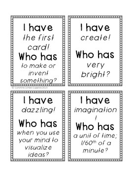 "2nd grade ""I have Who has"" vocabulary game (Reading Wonders- Unit 6 Week 5)"