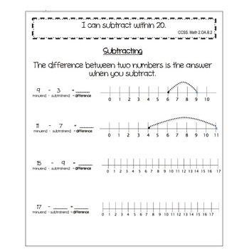2nd grade Interactive Math journal:  Subtracting to 20