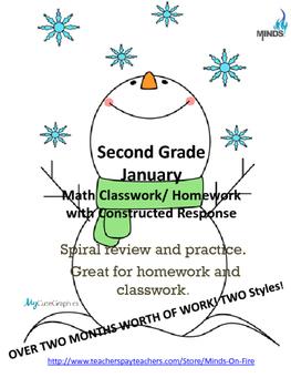 2nd grade January  Math class/homework. Spiraling review & constructed response