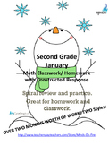 2nd grade January  Math class/homework. Spiraling review &