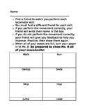 2nd grade Locomotor Peer Assessment