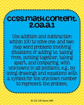 2nd grade Math Common Core Standards Posters Operations and Algebraic Thinking