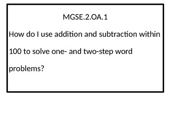 2nd grade Math Essential Questions for Georgia Standards of Excellence.