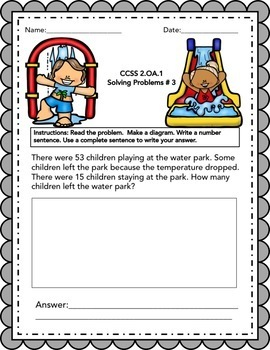 2nd grade Math Word Problems IN ENGLISH - CCSS 2.0A.1 - JULY
