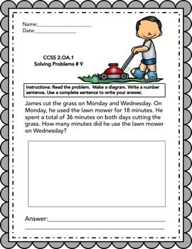 JULY - 2nd grade Math Word Problems IN ENGLISH - CCSS 2.0A.1