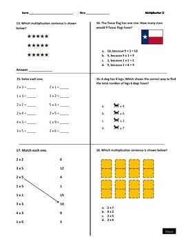2nd grade Multiplication (quiz or homework)