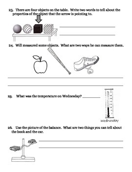 2nd grade NG Science - Matter (Ch2) Physical Properties - Review & Test PDF