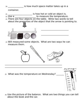 2nd grade NG Science - Matter (Ch2) Physical Properties - Review & Test word
