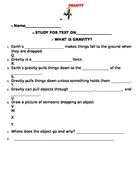 2nd grade NG Science - Forces & Motion Gravity Physical (Ch2) Review & Test Word