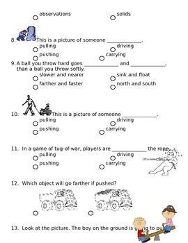 2nd grade NG Science - Forces & Motion Physical (Ch1) Review & Test word