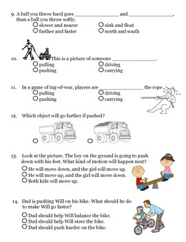 2nd grade NG Science - Forces & Motion Physical (Ch1) Review & Test PDF