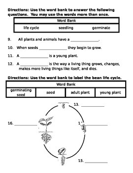 2nd grade NG Science - Life cycle (ch 1) Test word