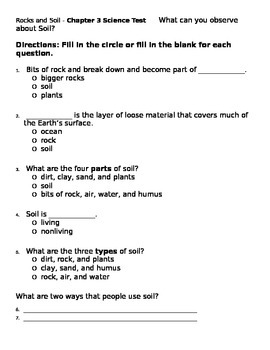 2nd grade NG Science - Rocks & Soil (Ch 3) Study Guide & Test Soil Word