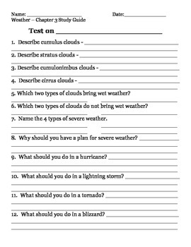 2nd grade NG Science - Weather (Ch 3) Study Guide & Test pdf