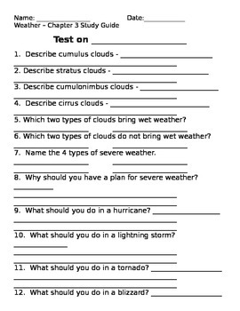 2nd grade NG Science - Weather (Ch 3) Study Guide & Test word
