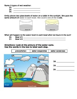 2nd grade NG Science - Weather (Ch 1) Study Guide & Test word